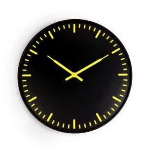 WALL CLOCK ULTRA FLAT YELLOW BLACK